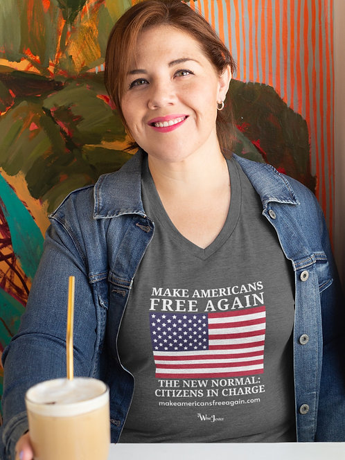 Make Americans Free Again. New Normal: Citizens In Charge. Dark grey heather women's short sleeve v-neck t-shirt