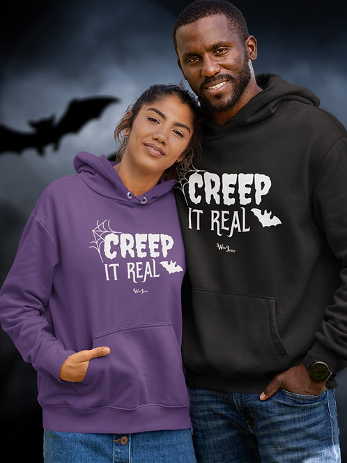 Creep it real. Purple and black unisex long sleeve pullover hoodie with kangaroo pouch pockets