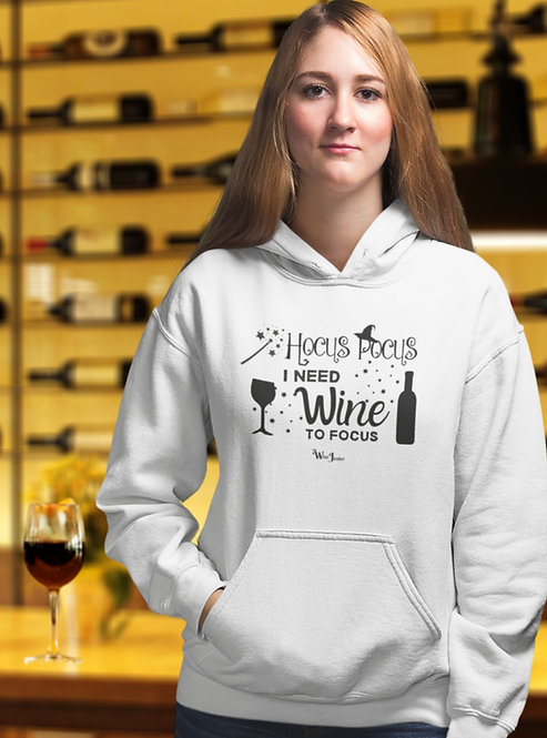 Hocus Pocus I Need Wine To Focus🍾 - Unisex Pullover Hoodie