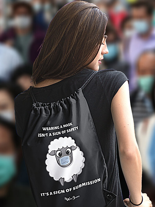 Wearing a mask isn't a sign of safety. It's a sign of submission. Woman with no mask black drawstring bag with zipper pocket