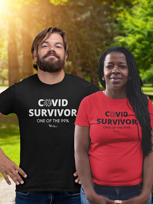 COVID survivor. One of the 99%. Red unisex tee. Medical freedom, patriotic shirts, liberty, women's patriotic shirts, men's
