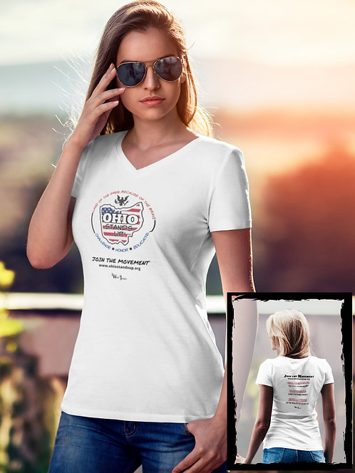 Ohio Stands Up! Logo | Mission Statement. White women's short sleeve double sided v-neck t-shirt