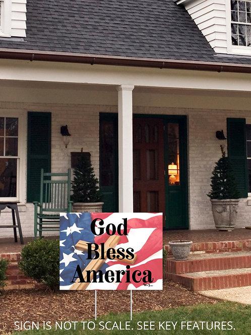 "God Bless America. 18""x24"" yard sign. Patriot yard sign. Patriotism. Constitution. God yard sign. Religious freedom. Believe"
