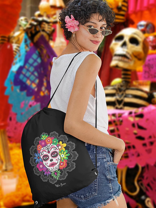Sugar skull. Dia de los Muertos. Black and white unisex long sleeve pullover hoodie with kangaroo pouch pockets