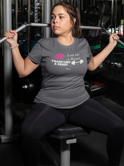 Look like a beauty, train like a beast. Woman working out wearing asphalt grey women's short sleeve crew neck t-shirt
