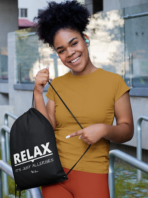 Relax. It's Just Allergies. Black drawstring bag with zipper pocket