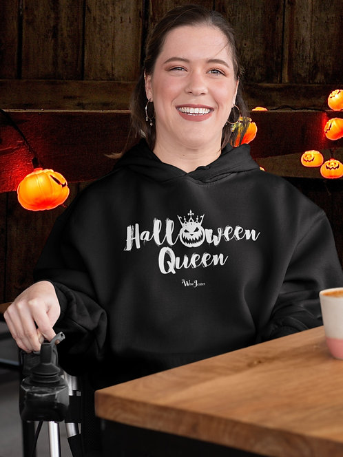 Halloween Queen. Black unisex long sleeve pullover hoodie with kangaroo pouch pockets