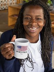 Born Free. Constitution. Liberty. Freedom. Freedom over tyranny. 11 ounce white ceramic mu