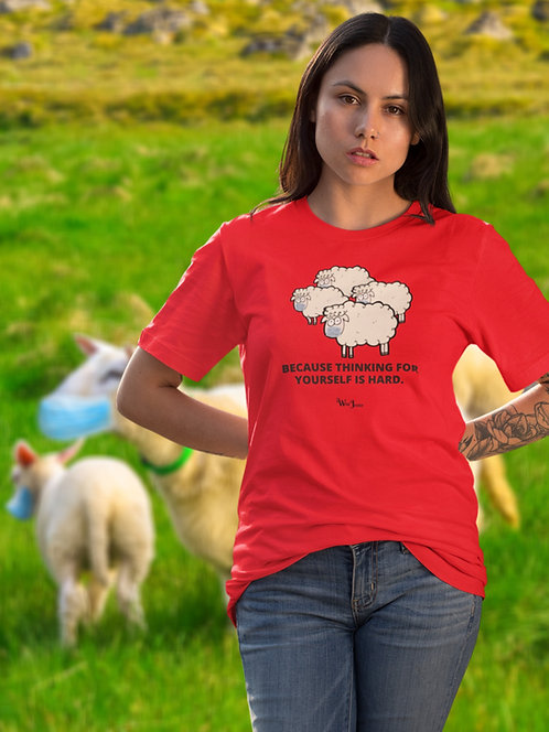 Because thinking for yourself is hard (photo of sheep wearing masks). Red unisex short sleeve crew neck t-shirt
