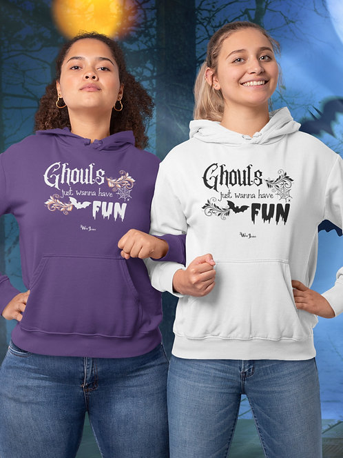 Ghouls just wanna have fun. Purple and white unisex long sleeve pullover hoodie with kangaroo pouch pockets