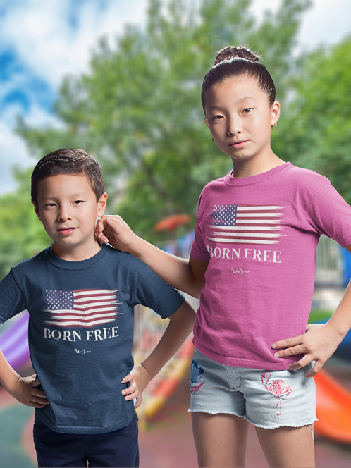 Born Free. Freedom. Liberty. COVID. Youth patriot. Kids for freedom. Navy blue youth unisex short sleeve crew neck t-shirt