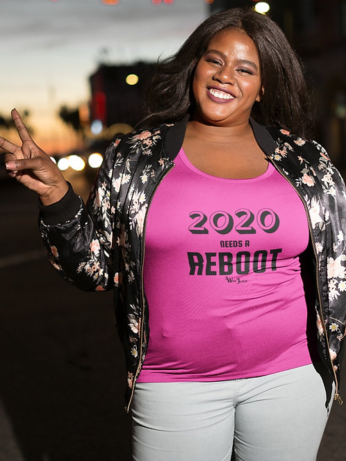 2020 Needs A Reboot woman in hot pink short sleeve scoop neck curvy t-shirt
