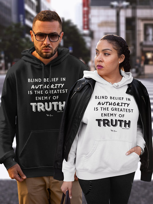 Blind belief in authority is the greatest enemy of truth. Black unisex long sleeve pullover hoodie with kangaroo pouch po