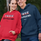 Free American. Red and navy blue unisex long sleeve pullover hoodie with kangaroo pouch pockets