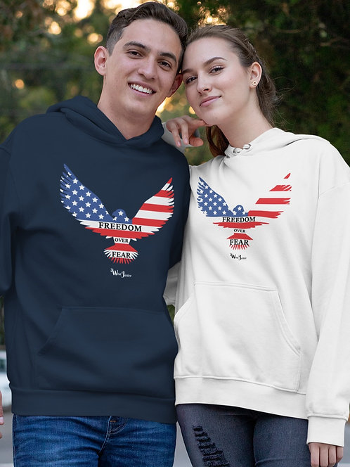 Freedom over fear. Navy blue and white unisex long sleeve pullover hoodie with kangaroo pouch pockets