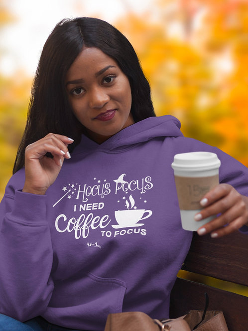 Hocus Pocus I Need Coffee To Focus. Purple unisex long sleeve pullover hoodie with kangaroo pouch pockets