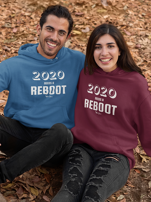2020 Needs A Reboot. Maroon and royal blue unisex long sleeve pullover hoodie with kangaroo pouch pockets