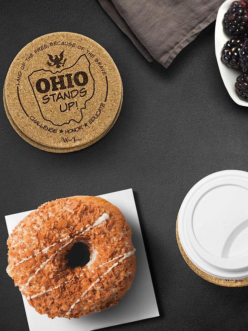 Ohio Stands Up! Logo - Round Cork Coasters – Set of 4