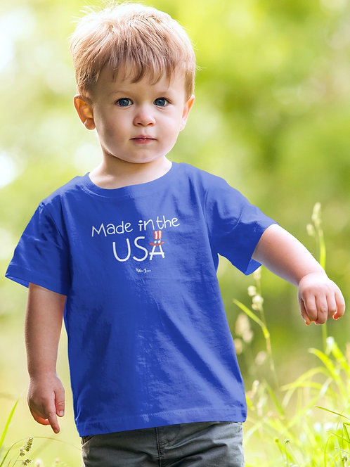Made in the USA. Royal blue unisex toddler short sleeve crew neck t-shirt. Freedom. Patriotic kids. COVID19.
