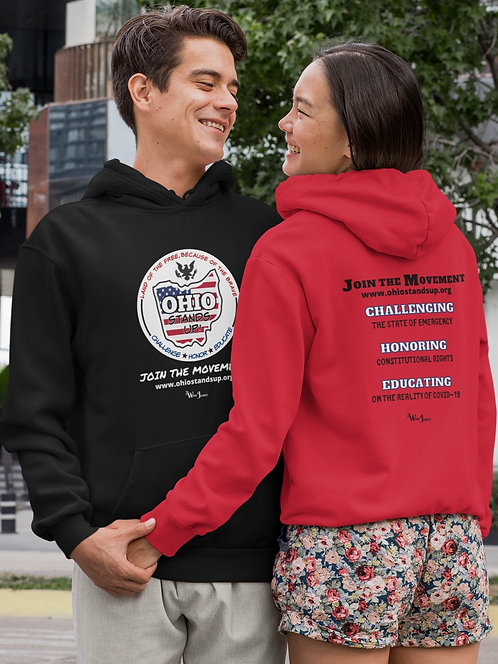 Ohio Stands Up! Logo | Mission Statement –  Male & female red unisex long sleeve pullover hoodie with kangaroo pouch pockets