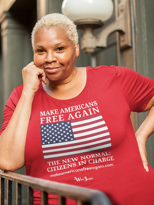 Make Americans Free Again. New Normal: Citizens In Charge. Red women's short sleeve scoop neck curvy t-shirt