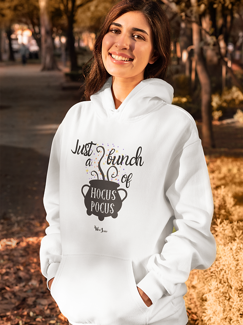 Just a bunch of hocus pocus. White unisex long sleeve pullover hoodie with kangaroo pouch pockets