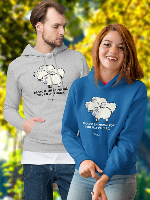 Because thinking for yourself is hard. Royal blue unisex long sleeve pullover hoodie with kangaroo pouch pockets