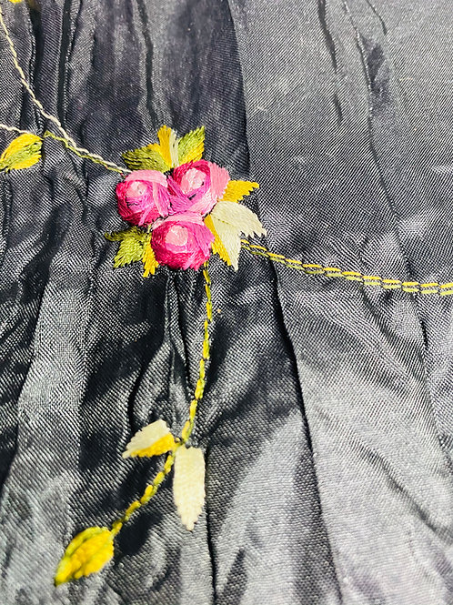 Black Crinkle Taffeta Fabric. Embroidered Pink 3D Rose Buds with Green Leaves.