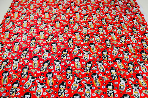 100% Cotton Poplin Fabric. Colourful Japanese Geisha Girls on a Red Background.