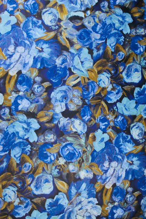 Polyester Satin, Lightweight Fabric, Different Shades of Blue Roses & Leaves