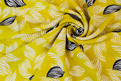 Fernando Gold Crepe de Chine Fabric. Painterly White & Black Leaf Design.
