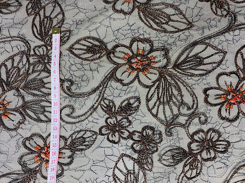 Sheer Black Net Lace Fabric. Embroidered Metallic Gold/Bronze Florals.