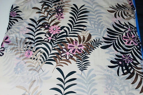 Cotton Silk Mix Fabric. Pink & Maroon Printed Flowers with Black & Brown Leaves.