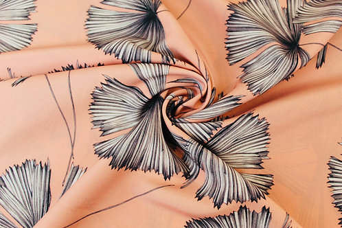 Coral Crepe de Chine Fabric with Striking Greyscale Fan Palms.