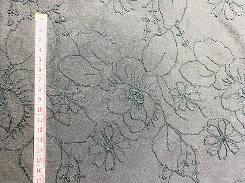 Black Embroidered Cotton Fabric. Thick Stitched Embroidered Floral/Leaf Repeat.
