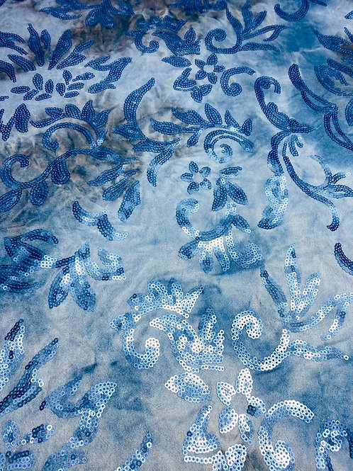 Brushed Faux Suede Fabric. Blue Sequin Floral/Leaf Design with Blue/Brown Ombre.