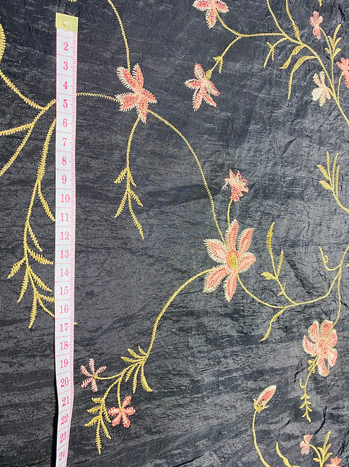 Satin Taffeta Fabric. Coral & Gold Embroidered Flowers on a Black Background.