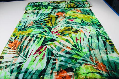 100% Viscose Fabric, Repeat Print Jungle Leaf Design, Lightweight, Soft Drape