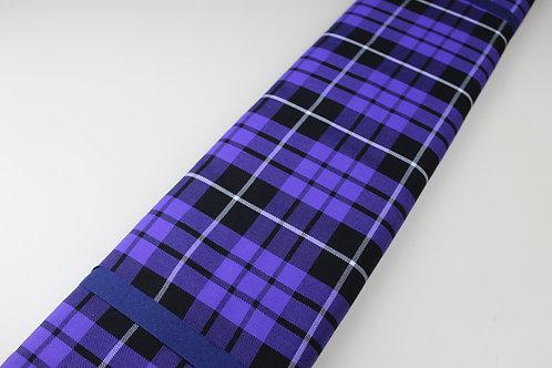 Polyester Viscose Mix Fabric. Woven Tartan Check in Purple, Black & White.