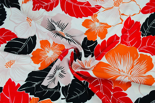 Viscose Elastane Mix Fabric. Tropical Florals in Pink & Orange with Black Leaves