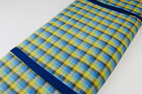 Soft Touch, Woven, Summer Fabric. Light Green, Dark Green, Blue, Yellow Check