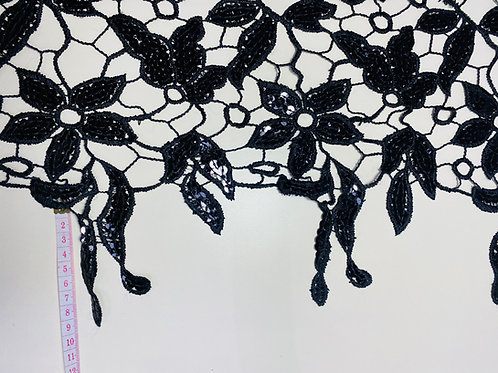 Black Open Thick Lace Fabric. Large Floral Sequinned Design.