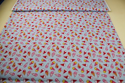 Poly Cotton Mix Fabric. Colourful Ice Cream Cones on a Pale Blue Background.