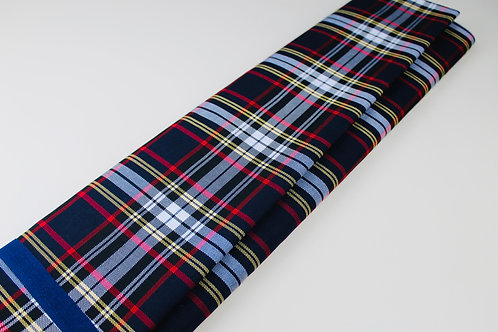 Tartan Checked Fabric. Medium Weight, Soft Drape. Navy, Black and Red with White