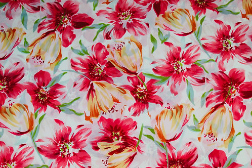 100% Polyester, Lightweight Fabric, Pretty Pink,Tulips & Flowers Floral Fabric.