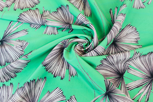 Green Crepe de Chine Fabric with Striking Greyscale Fan Palms.