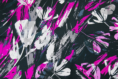 Polyester Silk Mix Fabric. Vibrant Purple, Pink & White Bold Leaf Repeat Design.