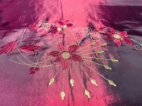 Satin Polyester Fabric. Wine Red & Burgundy Floral Embroidered Design.