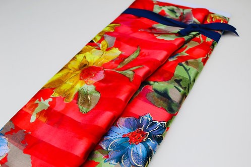 Large Flowers in Yellow, Blue, with Gold Metallic Detail on Red Background