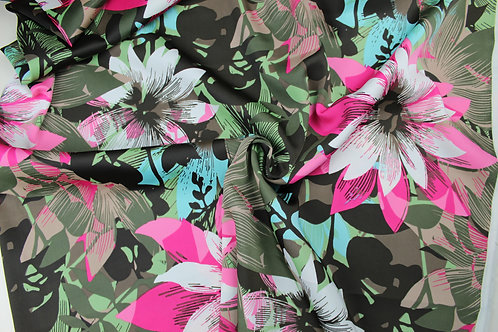 98% Polyester, 2% Spandex, Colourful Floral Design, Stretch Fabric. Smooth, Silk